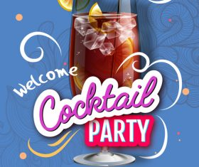 Welcome cocktail party flyer template vector 03