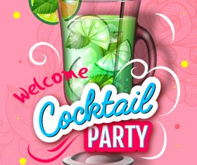 Welcome cocktail party flyer template vector 07