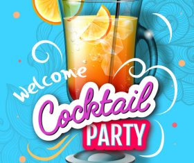 Welcome cocktail party flyer template vector 08