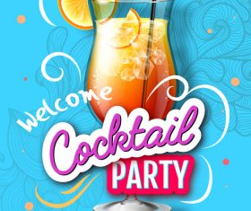 Welcome cocktail party flyer template vector 09