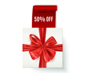 White gift boxs with discount sign vector