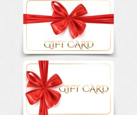 White gift card template with red bows vector