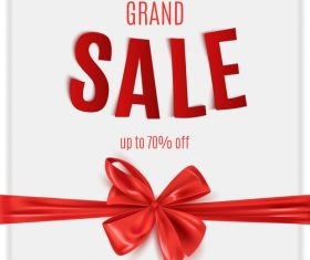 White sale background with red bows vector