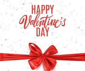 White valentines day background with red bows vector
