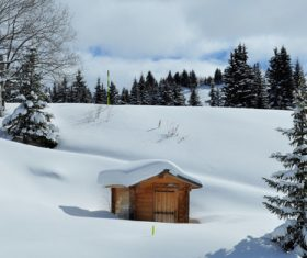 White winter snow landscape and building Stock Photo 02