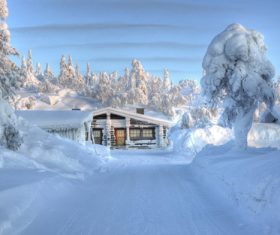 White winter snow landscape and building Stock Photo 04