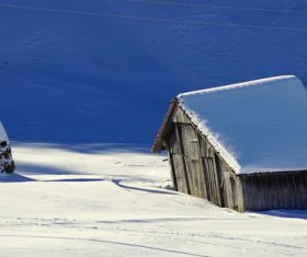White winter snow landscape and building Stock Photo 07