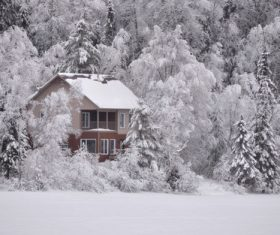 White winter snow landscape and building Stock Photo 08