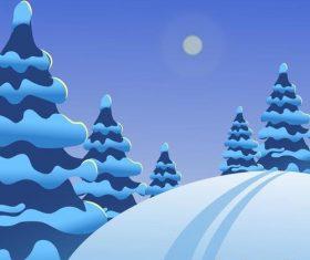 Winter natural landscape design vectors 01