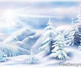 Winter natural landscape design vectors 05
