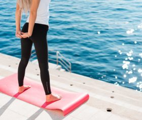 Woman Stretching Morning Yoga Routine Stock Photo
