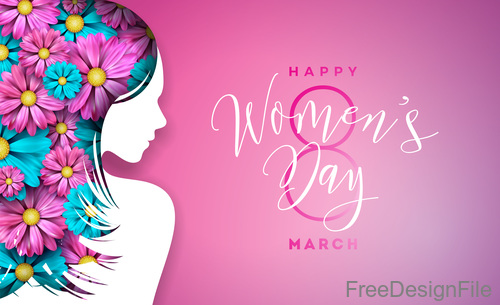 Women day background with women silhouette vector 01