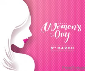 Women day background with women silhouette vector 02