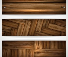 Wood parquet banners design vector 02