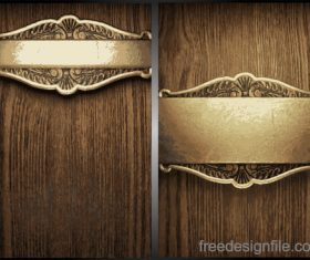Wooden background with gold metal vectors 02