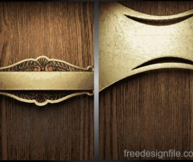 Wooden background with gold metal vectors 03