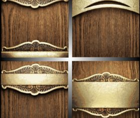 Wooden background with gold metal vectors 04