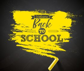 Yellow chalk with back to school background vector