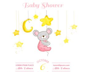 baby shower card with cartoon mouse vector 09