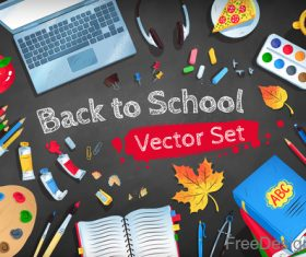 back to school accessories element background vector