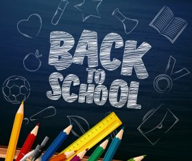 back to school background with stationery vector 01