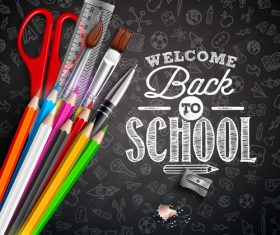 back to school background with stationery vector 02