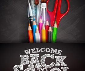 back to school background with stationery vector 03