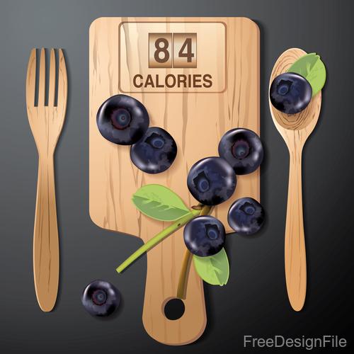 blueberries calories vector