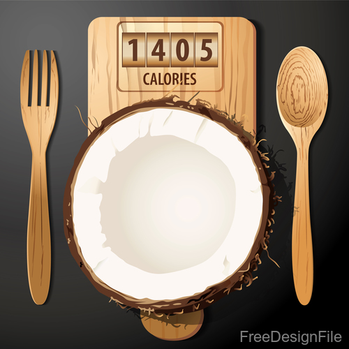 coconut calories vector