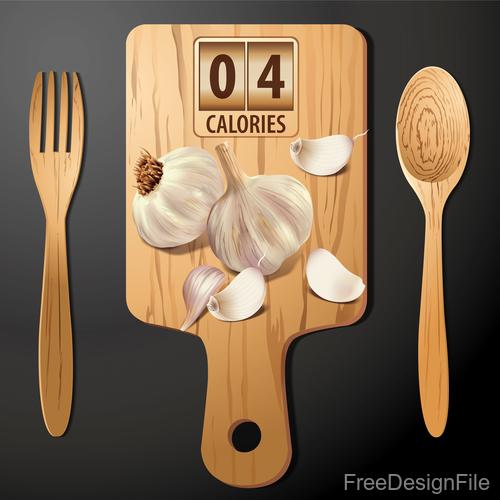 garlics calories vector