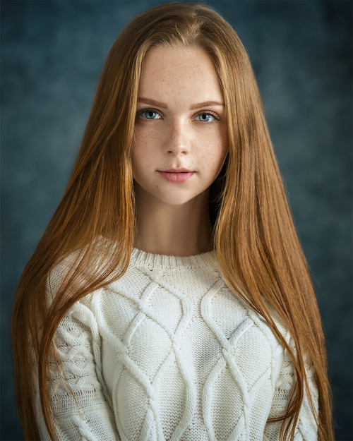long hair blue eyes girl Stock Photo