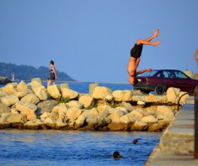people tumble jump flip Stock Photo 13