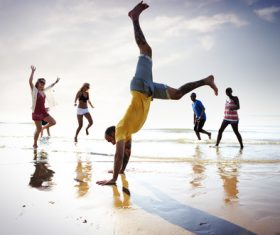 people tumble jump flip Stock Photo 14