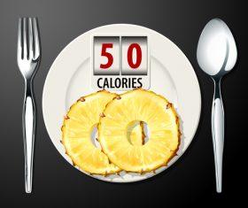 pineapple calories vector