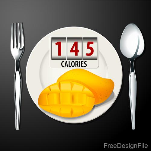ripe mango calories vector