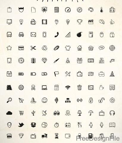 100 Kind Hand Drawn Doodle Icons free download