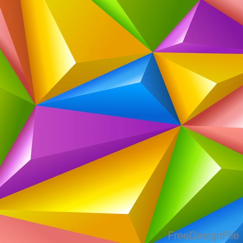3D colors polygon shape background vector 01