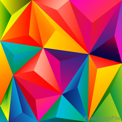 3D colors polygon shape background vector 03