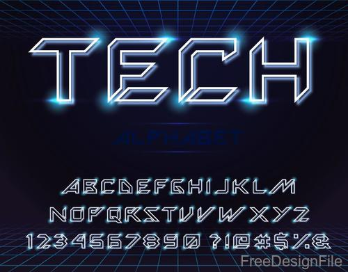3D tech alphabet with number vector