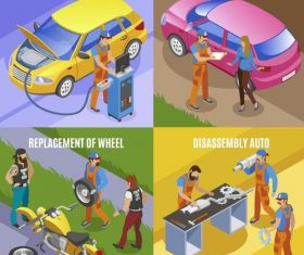4 Kind car services template vector