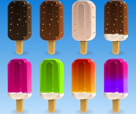 6 Kind colored Ice cream illustration vector