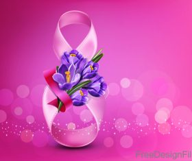 8 March women day and purple flower vector