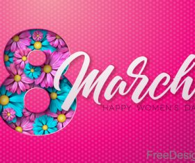 8 March women day card with flower design vector