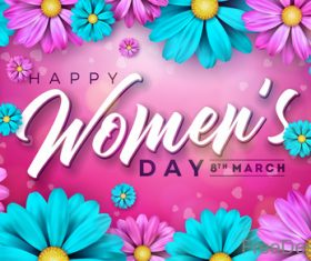 8 March women day with flower frame vector