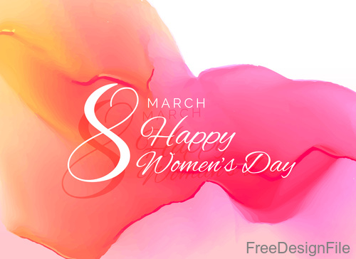 8 March womens Day with abstract watercolor background vector