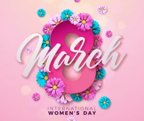 8 much women day with flower background vector