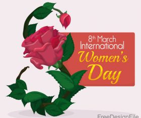 8 March women day card and flower vector