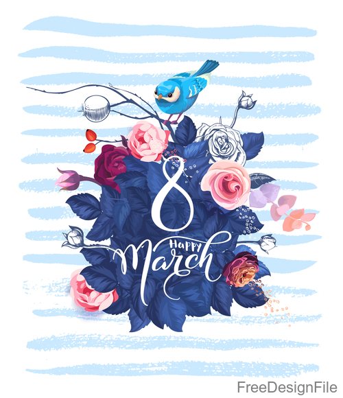 8 March women day with flower and bird vector