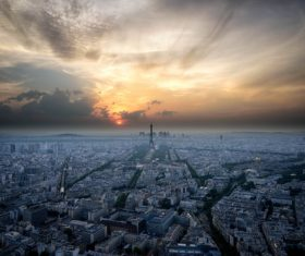 Aerial photography of Paris city at sunset Stock Photo