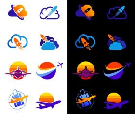 Aircraft rocket logos vector set